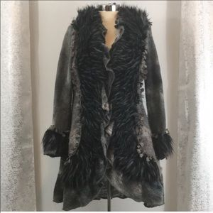 Boston proper faux fur trim lace sweater coat
